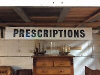 Large Vintage Prescriptions Pharmacy Sign