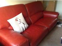 Buffalo Leather Italian settee, chair and pouffe