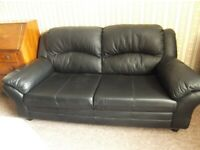 Black leather sofas x3 seater and x2 seater