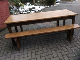 Beautiful solid oak dining table and benches