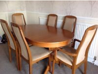 5ft oval dining table and 6 chairs