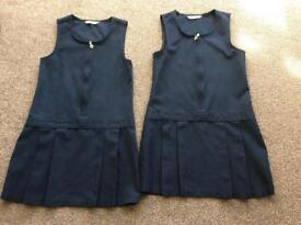 Marks &Spencers 2x Navy blue pinafore dresses, age 6-7