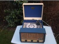 1960's dansette conquest automatic record player turntable + vinyl records