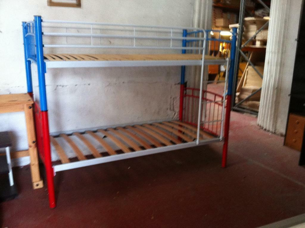 blue and red metal sinlge 3ft bunk bed frame in burry port carmarthenshire gumtree. Black Bedroom Furniture Sets. Home Design Ideas