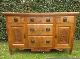 SUPERB EDWARDIAN CARVED SOLID WALNUT & BURR WALNUT SIDEBOARD ORIGINAL HANDLES