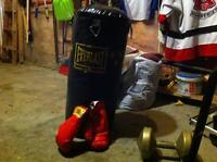 Everlast heavy bag with boxing gloves