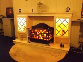 WOODEN FIREPLACE, WITH CAST IRON 2 HEAT SETTINGS ELECTRIC FIRE