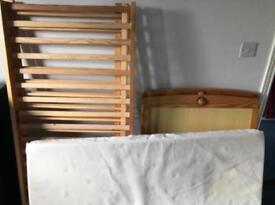 Solid wood cot bed with mattress