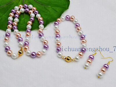 Pretty 8mm White Pink Purple South Sea Shell Pearl Necklace Bracelet Earrings Purple Shell Pearl Necklace