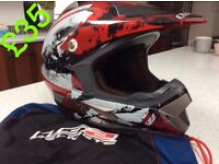 Motocross helmet and mx jersey's and trousers and body protector vest