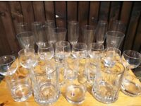 Job Lot 25 Mixed Drinking Bar Glasses Great For Parties BBQs Collection Only