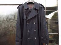 "Men's classic, Navy Dark Blue Trench Rain Coat. Size UK 42"""