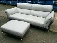 Beautiful grey leather and suede 3 seater sofa and pouffe