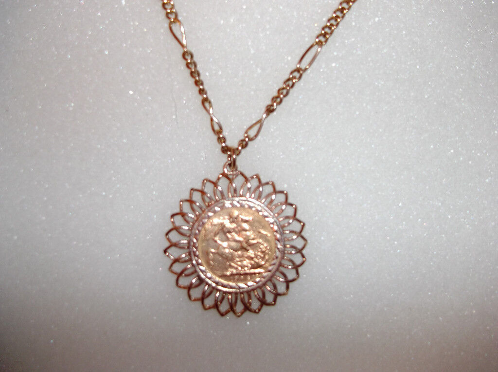 Edward vii 1906 gold sovereign on a 9ct gold pendant mount chain aloadofball Images