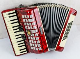 Studio 72 Bass Accordion in Red Pearl - 3 Voice - 34 Keys