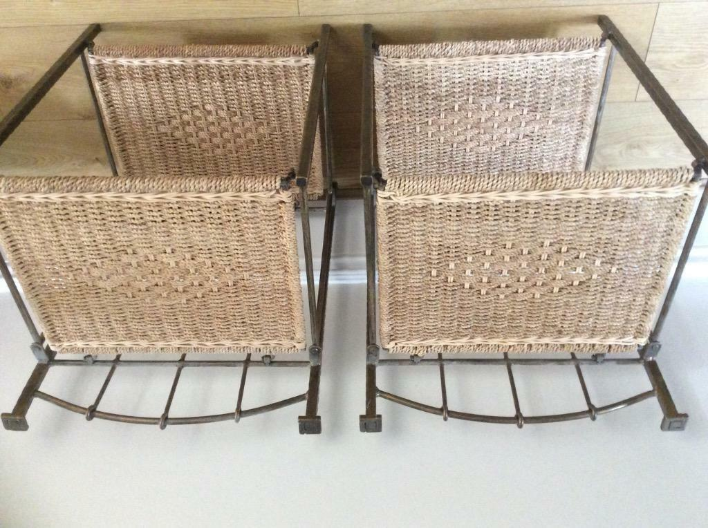 2 Rattan And Iron Bedside Tables