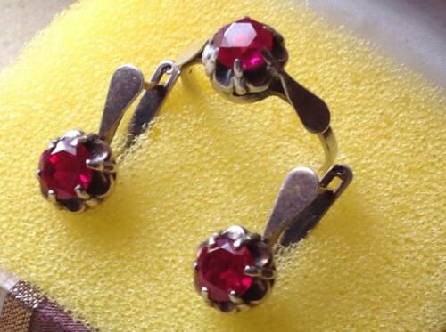 Chic Original Vintage Set Earrings Ring Women Jewelry Ruby Sterling Silver 925