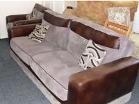 Deep cord and faux leather suite with cushions (brown and Gray)