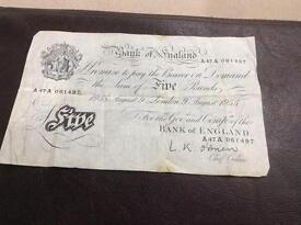 Old five pound note 1955, old ten pound and shilling notes and one pound note