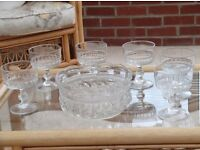 Glass trifle/fruit bowl and six glass dishes