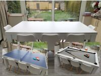 6ft 8 Seater Dining/Pool/Table Tennis Dining Table Set Complete with 8 chairs