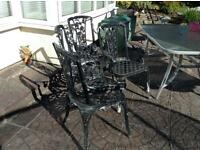 WROUGHT IRON GARDEN CHAIRS X 4