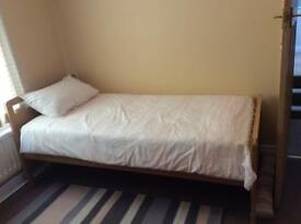 Single bed and mattress.