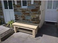 Hand made solid wood chunky garden bench.