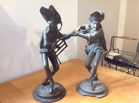 Pair of Antique 19th Century French Spelter Novelty Musician Candlestick Holders