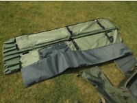 CARP FISHING GEAR CRADLE/HOLDALL/SLEEVES + FOR SALE - WILL SELL AS ONE OR INDIVIDUALLY.