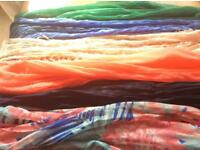 Bundle of ladies long cotton and mixed fabric scarfs/pashminas - variety of colours and styles