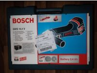 Boxed Cordless Bosch SDS Pro Angle Grinder - GWS 14.4 Volt (battery 14.4v 2.4 Ah) c/w Disks