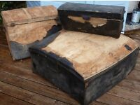3 x Antique Georgian Leather Covered Fitted Luggage Horse Carriage Trunk Chest