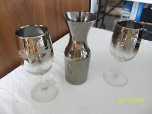 Silver Wine Carafe & 2 matching goblets