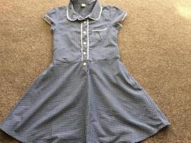 School summer dresses x2, Navy blue & white, Tu, age 8