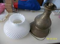White milk hobnail shade and brass base lamp