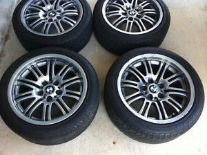 4 x 17 inch BMW M3 wheels with 60-70% tread on tyres Mount Annan Camden Area Preview
