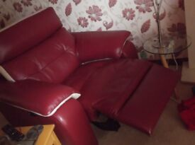 Leather suite in unique red and cream leather. worth £3900 bought 8 months ago from martin and fros