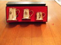 set of three minature English pewter tankards in original box