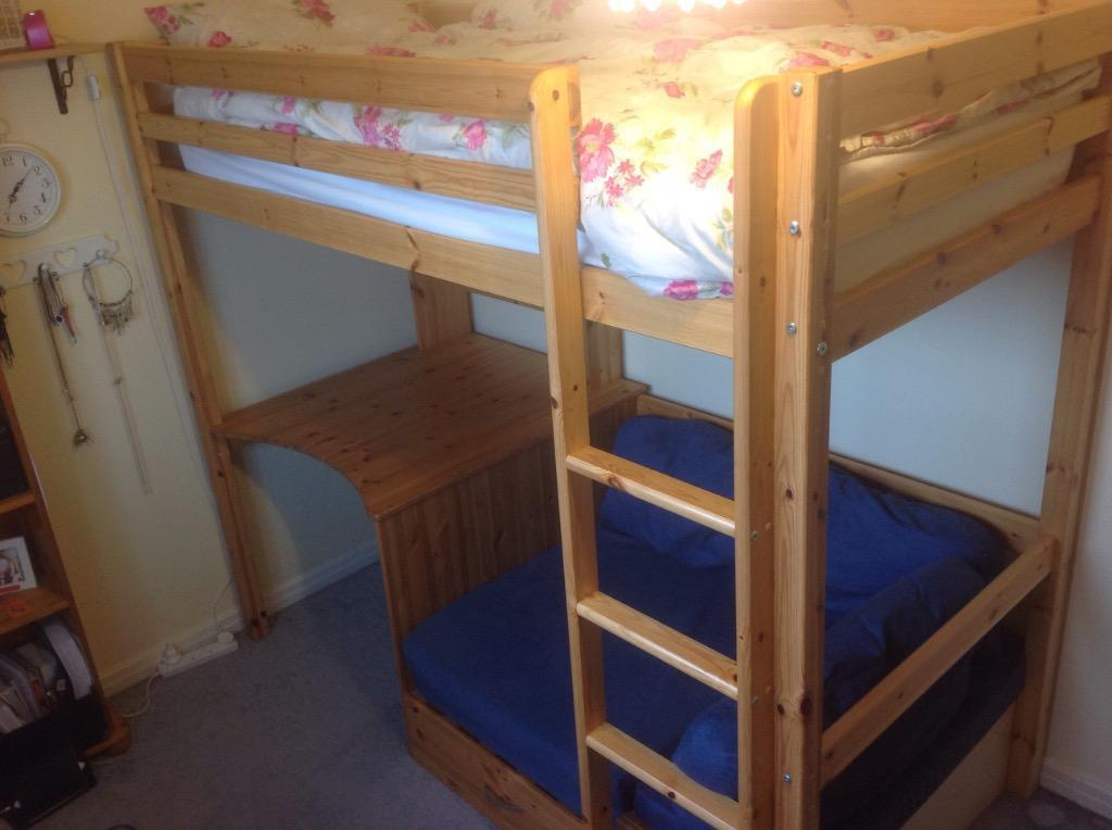 Solid pine high sleeper bunk bed with desk and pull out for Gumtree bunk beds