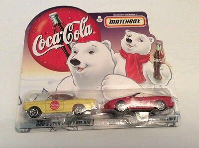 Coca Cola Matchbox collector car. 1955 chevy bel air 1998 camero convertible NIB