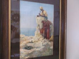 ORIGINAL VICTORIAN LITHOGRPH PICTURE PAINTING PRINT SNAKE CHARMER SIKH ASIAN INTERIOR DESIGN