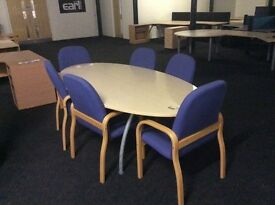 Light oak conference table and six chairs