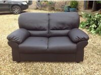Faux Leather Fabric Brown Two Seater Sofa