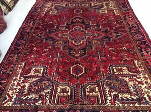 Persian Heriz Rug, Wool , Handmade RugRed/ Blue/ (Shipping Available)