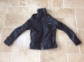 Mens Superdry Brown Leather Jacket Small