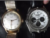 Nice job lot pair of used watches, one gold plated incabloc and one automatic with black strap