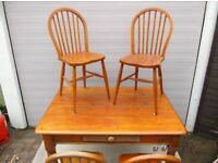 Really Old Pine Table & Four Solid Wood Chairs.