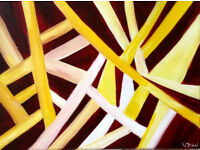 Original Art Skeleton Leaves Acrylic on Canvas Self Representing Artist