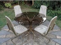 VINTAGE 1970S DINING TABLE FOUR CHAIRS SMOKED GLASS OCTAGONAL TOP GOLD FRAMES EXCELLENT UPHOLSTERY